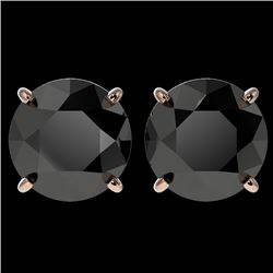4 CTW Fancy Black VS Diamond Solitaire Stud Earrings 10K Rose Gold - REF-96T9X - 33135