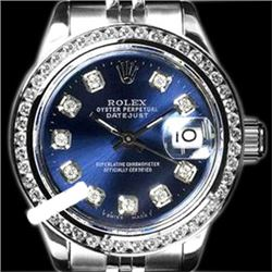 Rolex Ladies Stainless Steel, Diamond Dial & Diamond Bezel, Saph Crystal - REF-355H6W