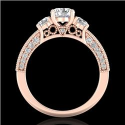2.07 CTW VS/SI Diamond Solitaire Art Deco 3 Stone Ring 18K Rose Gold - REF-270K2R - 37017