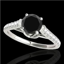 1.46 CTW Certified Vs Black Diamond Solitaire Ring 10K White Gold - REF-62R8K - 34964
