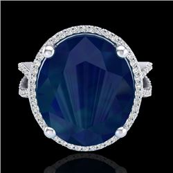 12 CTW Sapphire & Micro Pave VS/SI Diamond Certified Halo Ring 18K White Gold - REF-143N6Y - 20967
