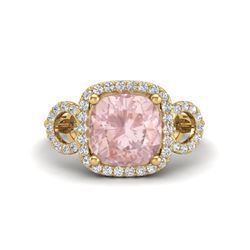 2.75 CTW Morganite & Micro VS/SI Diamond Certified Ring 14K Rose Gold - REF-70X9T - 23007