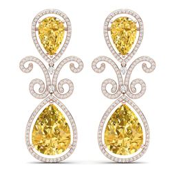 27.31 CTW Royalty Canary Citrine & VS Diamond Earrings 18K Rose Gold - REF-301M8F - 39553