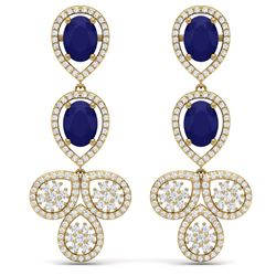 9.75 CTW Royalty Sapphire & VS Diamond Earrings 18K Yellow Gold - REF-290N9Y - 39086