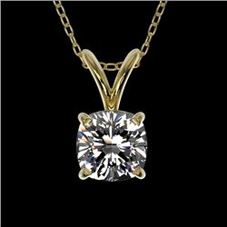 0.50 CTW Certified VS/SI Quality Cushion Cut Diamond Necklace 10K Yellow Gold - REF-78R2K - 33171