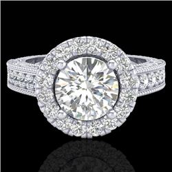 2.25 CTW Vintage Design Solitaire VS/SI Diamond Halo Ring 14K White Gold - REF-372H2W - 21117