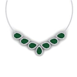 34.72 CTW Royalty Emerald & VS Diamond Necklace 18K White Gold - REF-690R9K - 38826