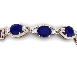 22.15 CTW Royalty Sapphire & VS Diamond Bracelet 18K Rose Gold - REF-400Y2N - 38965
