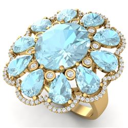 20.54 CTW Royalty Sky Topaz & VS Diamond Ring 18K Yellow Gold - REF-254Y5N - 39149