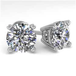 4 CTW Certified VS/SI Diamond Stud Earrings 14K White Gold - REF-1827T3X - 38386