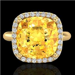 6 CTW Citrine And Micro Pave Halo VS/SI Diamond Ring Solitaire 18K Yellow Gold - REF-55F6M - 23096