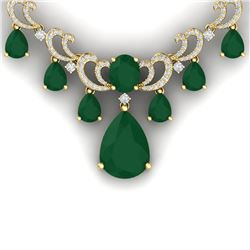 34.91 CTW Royalty Emerald & VS Diamond Necklace 18K Yellow Gold - REF-1000Y2N - 38657