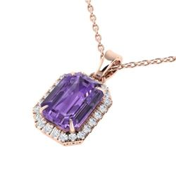 5 CTW Amethyst & Micro Pave VS/SI Diamond Certified Halo Necklace 14K Rose Gold - REF-50T9X - 21349