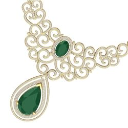 87.52 CTW Royalty Emerald & VS Diamond Necklace 18K Yellow Gold - REF-2000T2X - 39838