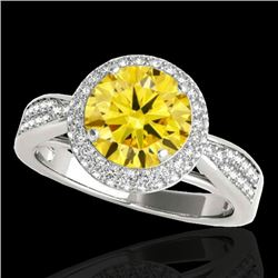 1.65 CTW Certified Si Fancy Intense Yellow Diamond Solitaire Halo Ring 10K White Gold - REF-180H2W -
