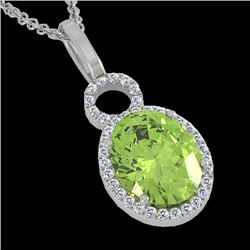 3 CTW Peridot & Micro Pave Solitaire Halo VS/SI Diamond Necklace 14K White Gold - REF-50N9Y - 22766