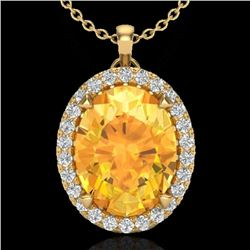 2.75 CTW Citrine & Micro VS/SI Diamond Halo Solitaire Necklace 18K Yellow Gold - REF-48F4M - 20586