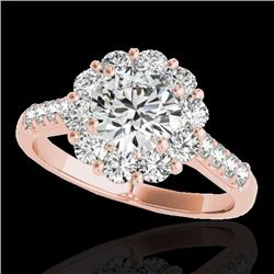 2 CTW H-SI/I Certified Diamond Solitaire Halo Ring 10K Rose Gold - REF-207T3X - 33419