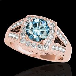 1.65 CTW SI Certified Fancy Blue Diamond Solitaire Halo Ring 10K Rose Gold - REF-233X4T - 34465