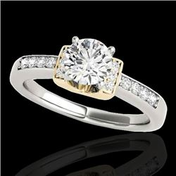 1.11 CTW H-SI/I Certified Diamond Solitaire Ring Two Tone 10K White & Yellow Gold - REF-156N4Y - 348