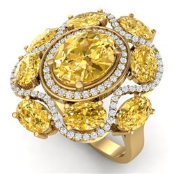 7.68 CTW Royalty Canary Citrine & VS Diamond Ring 18K Yellow Gold - REF-178Y2N - 39308