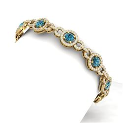10 CTW Si/I Fancy Blue And White Diamond Bracelet 18K Yellow Gold - REF-790M9F - 40090