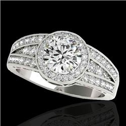 1.5 CTW H-SI/I Certified Diamond Solitaire Halo Ring 10K White Gold - REF-180X2T - 34069