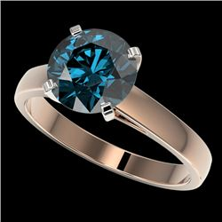 2.50 CTW Certified Intense Blue SI Diamond Solitaire Engagement Ring 10K Rose Gold - REF-608F5M - 33