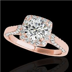1.5 CTW H-SI/I Certified Diamond Solitaire Halo Ring 10K Rose Gold - REF-176K4R - 33365