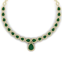 51.41 CTW Royalty Emerald & VS Diamond Necklace 18K Yellow Gold - REF-1018F2M - 39422