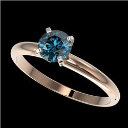 0.77 CTW Certified Intense Blue SI Diamond Solitaire Engagement Ring 10K Rose Gold - REF-85T5X - 363