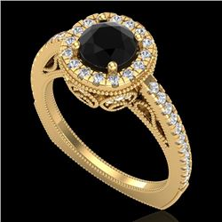 1.55 CTW Fancy Black Diamond Solitaire Engagement Art Deco Ring 18K Yellow Gold - REF-136W4H - 37984