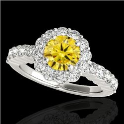 1.75 CTW Certified Si Fancy Intense Yellow Diamond Solitaire Halo Ring 10K White Gold - REF-180R2K -