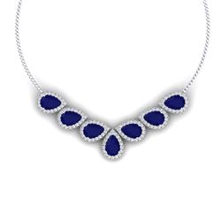 34.72 CTW Royalty Sapphire & VS Diamond Necklace 18K White Gold - REF-618M2F - 38832