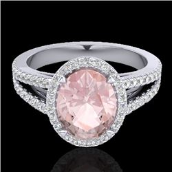 3 CTW Morganite & Micro VS/SI Diamond Halo Solitaire Ring 18K White Gold - REF-86K2R - 20944