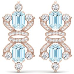 28.39 CTW Royalty Sky Topaz & VS Diamond Earrings 18K Rose Gold - REF-490F9M - 38770