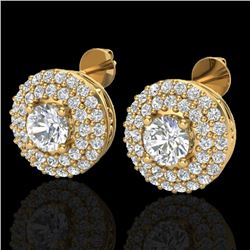1.20 CTW Micro Pave VS/SI Diamond Earrings 18K Yellow Gold - REF-118H2W - 20198