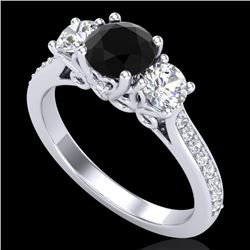 1.67 CTW Fancy Black Diamond Solitaire Art Deco 3 Stone Ring 18K White Gold - REF-156X4T - 37807