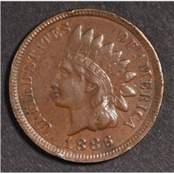 1886 TYPE-2 INDIAN HEAD CENT, XF+