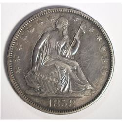 1858 SEATED LIBERTY HALF DOLLAR, AU
