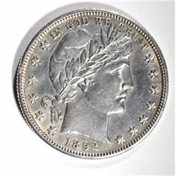 1892-S BARBER HALF DOLLAR, AU/BU cleaned NICE!