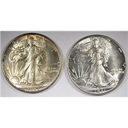 1941 & 1942 WALKING LIBERTY HALF DOLLARS CH BU