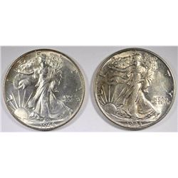 1943 & 46 WALKING LIBERTY HALF DOLLARS, CH BU