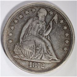 1872 SEATED LIBERTY DOLLAR, XF