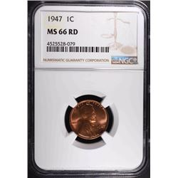 1947 LINCOLN CENT, NGC MS-66 RED