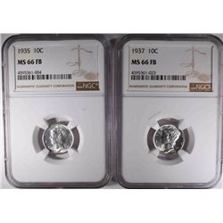 1935 & 1937 MERCURY DIMES, NGC MS-66 FB