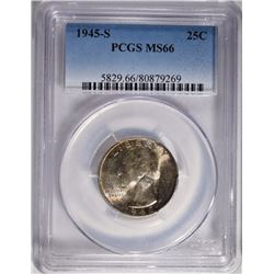 1945-S WASHINGTON QUARTER PCGS MS-66