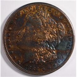 1884-S MORGAN DOLLAR AU RAINBOW TONED