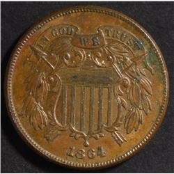 1864 2 CENTS GEM BU RED & BROWN  NICE