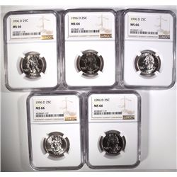 (5) 1996-D WASHINGTON QUARTERS, NGC MS-66